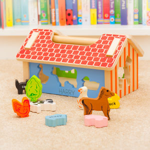 Personalised Farm Animal Wooden Shape Sorter Toy - play scenes & sets