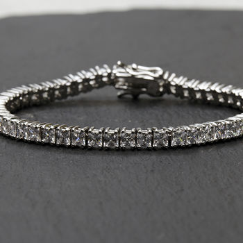Square Cut Crystal Tennis Bracelet