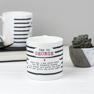 George Clooney Poem Bone China Mug