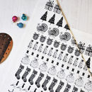 Christmas Illustrated Black And White Tea Towel