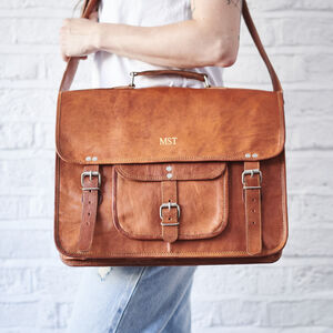 Leather Satchel With Front Pocket And Handle