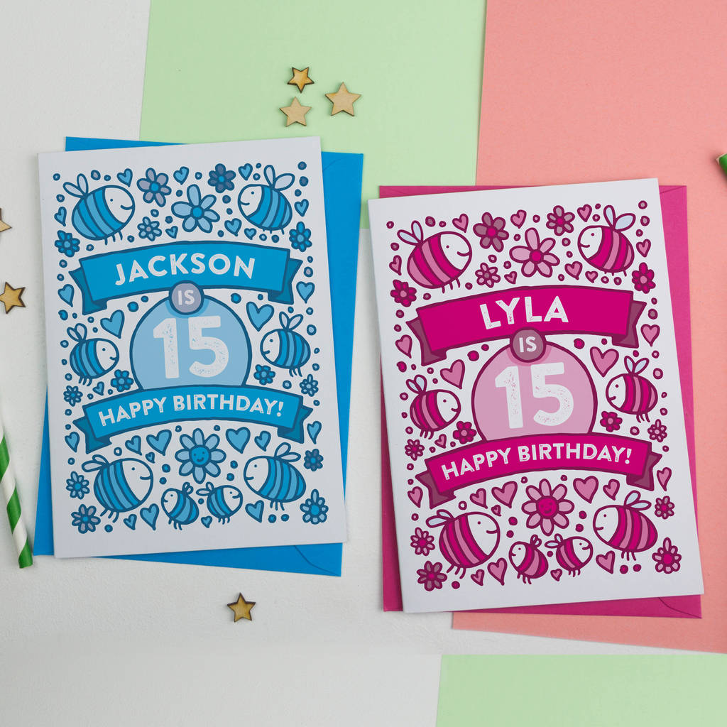 personalised bees illustrated 15th birthday card by a is for – 15th Birthday Cards