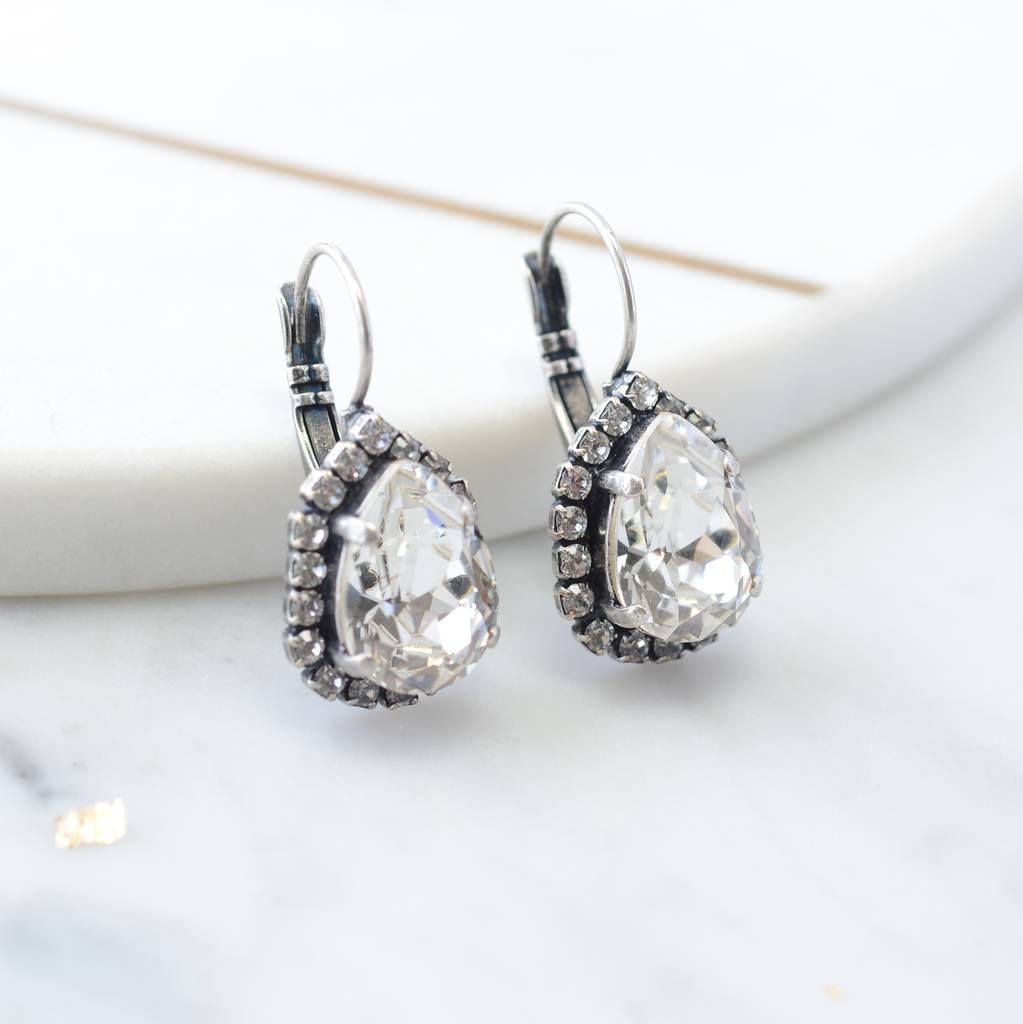 ed401aaea vintage style pear drop bridal earrings by iscah and mimi ...