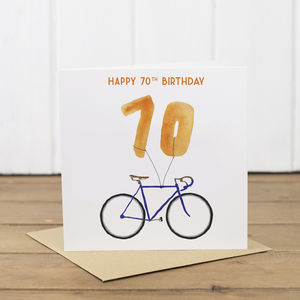70th Bicycle Balloon Birthday Card - shop by category