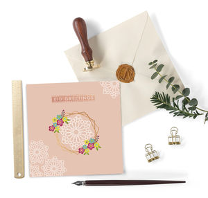 Eid Greetings Card Peach Lace