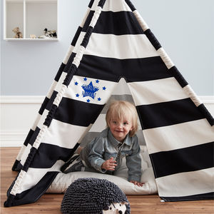 Personalised Black And White Teepee - tents, dens & teepees