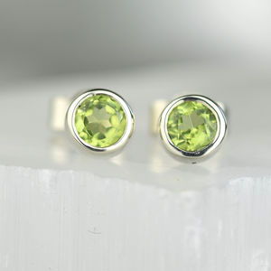 Solid Gold Peridot Gemstone Earrings - gold earrings