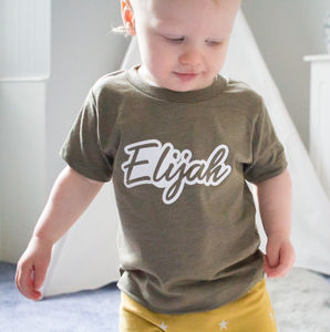 Personalised Childrens Retro Salty Script T Shirt