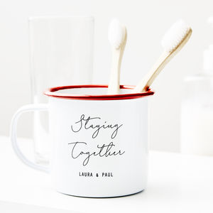 Personalised Couples Toothbrush Enamel Mug - kitchen