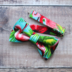 Tropical Flamingo Bow Tie - ties & tie clips
