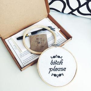 'Bitch Please' Modern Cross Stitch Kit - sewing kits