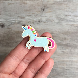 Unicorn Gift Wooden Brooch: Jewellery For Girls - pins & brooches