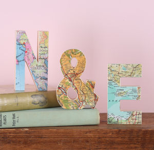 Set Of Wooden Map Letters Wedding Anniversary Gift