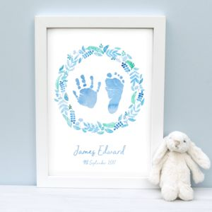 Child's Handprint And Footprint Wreath Print - view all new