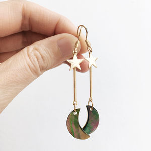 Mother Of Pearl And Abalone Crescent Moon Earrings - view all new