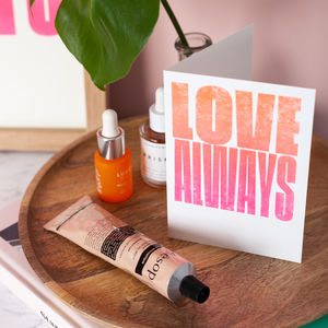 Love Always Fluorescent Risograph Greetings Card