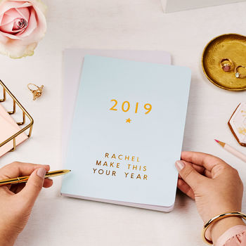 Any Text Foiled 2019 Weekly Diary