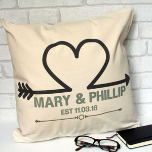 Personalised Arrow Heart Love Cushion Cover - bedroom