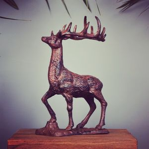 Cast Iron Reindeer Sculpture
