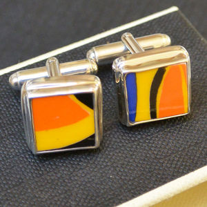 Clarice Cliff Upcycled Sterling Silver Cufflinks Medium