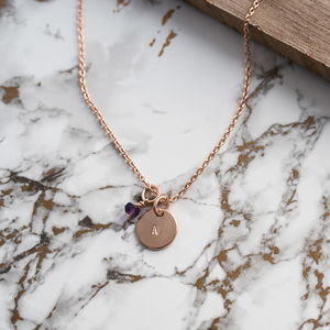 9ct Rose Gold Pebble Disc And Charms On Gold Chain