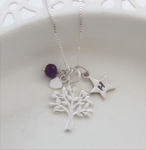 Mini Silver Tree Of Life Necklace With Birthstones - more