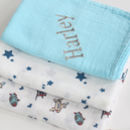 Three Pack Of Large Swaddle Muslins Blue