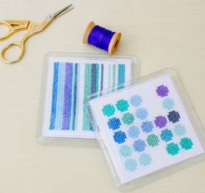 Cross Stitch Coaster Kit. Abstract Blue