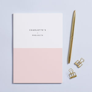 Personalised 'Demi' Pink A5 Notebook - millennial pink