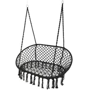 Black Macrame Double Hanging Garden Seat - garden furniture