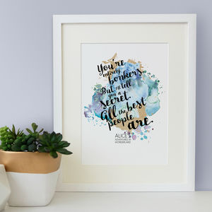 Alice In Wonderland 'Bonkers' Watercolour Print