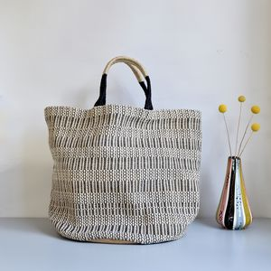 Monochrome Large Jute Tote Bag