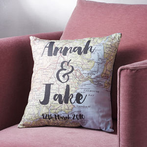 Personalised Couple Names Map Cushion - our travels