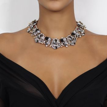 Black And Gold Rhinestone Statement Necklace