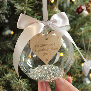 Personalised First Christmas At A New Home Bauble