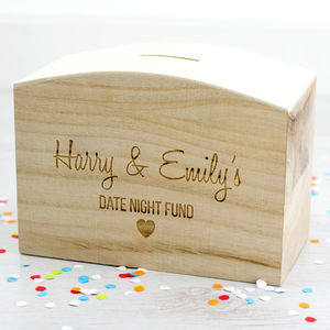 Date Night Fund Wooden Money Box - storage & organisers