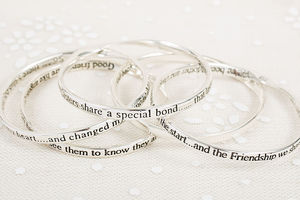 Silver Message Bangles - jewellery gifts for mothers