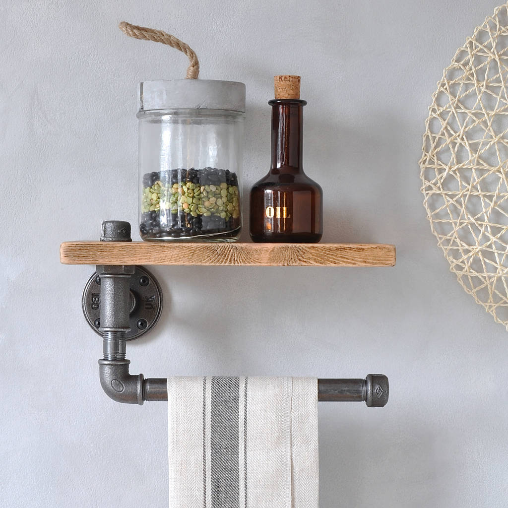 industrial kitchen towel holder and shelf by industrial by design