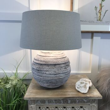 Grey Stone Effect Aged Ceramic Saturn Table Lamp Shade