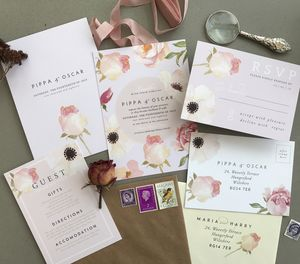 Florence Florals | Watercolour Wedding Invitation - new in wedding styling