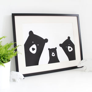Bear Family Selfie, Personalised A3 Print - baby's room