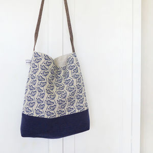 Navy Cow Parsley Day Bag