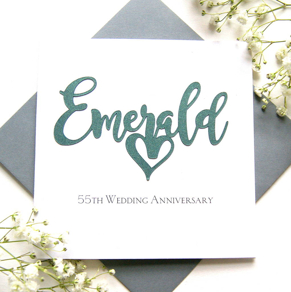Emerald 55th Wedding Anniversary Card By The Hummingbird Card