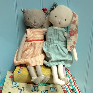 Vintage Style Personalised Cat Or Rabbit Soft Toy - dolls