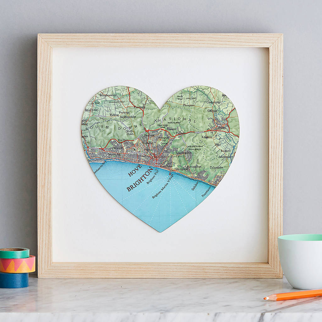Personalised map location heart wedding print gift by bombus personalised map location heart wedding print gift gumiabroncs Image collections