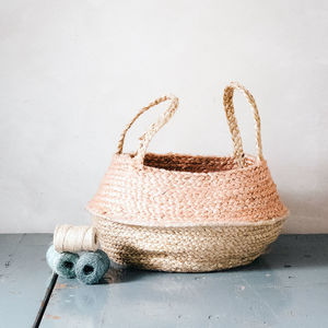 Natural And Peach Hemp Storage Basket