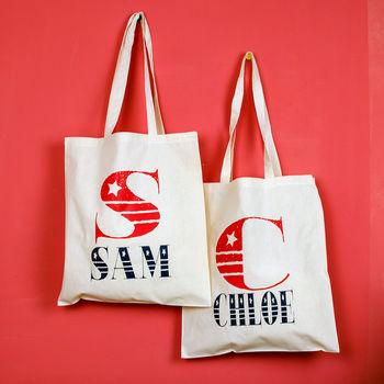 Personalised Vintage Font Tote Bag