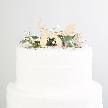 Wooden Rabbit Wedding Cake Topper