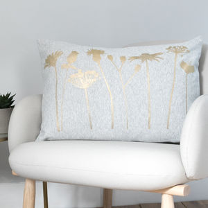 Grey Cushion With A Gold Dandelion Print