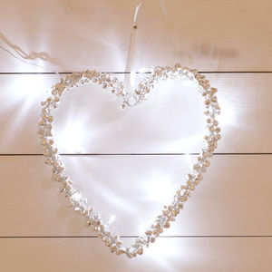 LED Lights Love Heart Bell Wreath